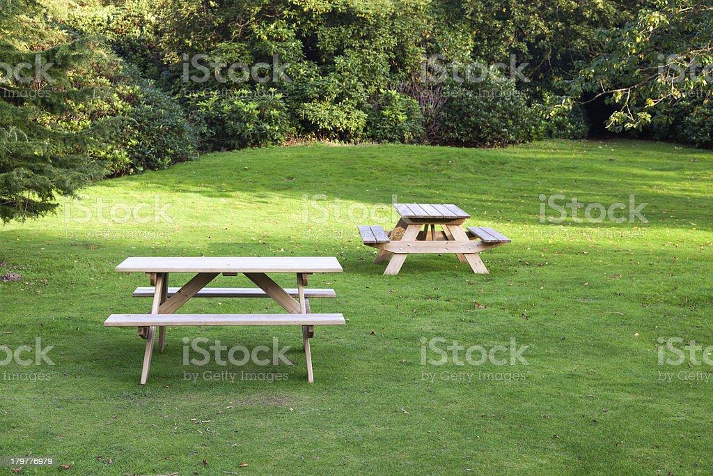 Picnic tables stock photo