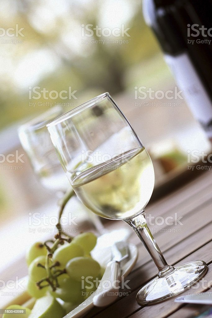 Picnic - White Wine and Green Grapes royalty-free stock photo
