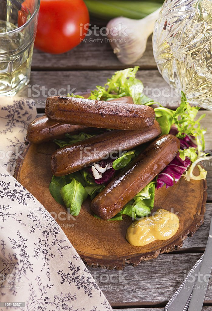 Picnic with grilled sausages stock photo
