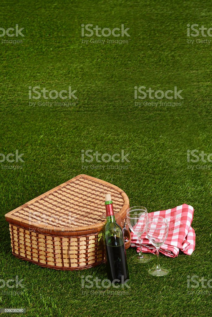 picnic with red wine royalty-free stock photo