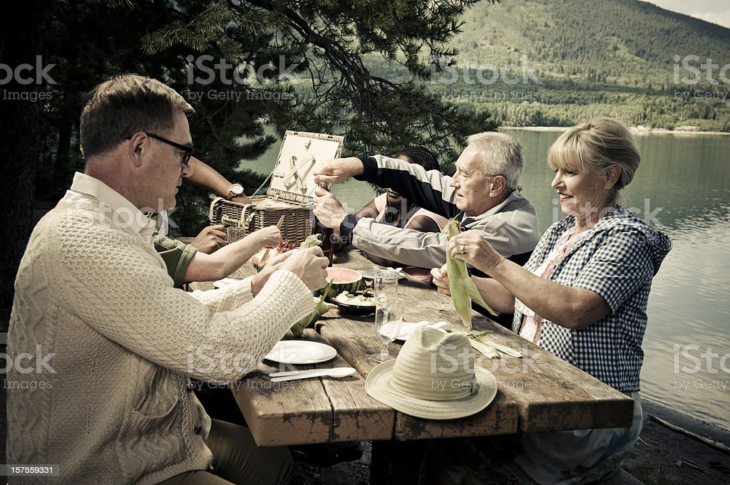 Picnicking Friends stock photo