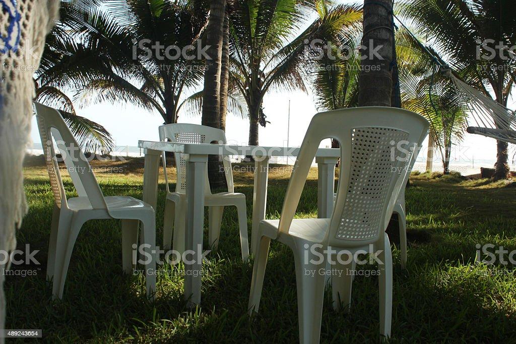 picnig table stock photo