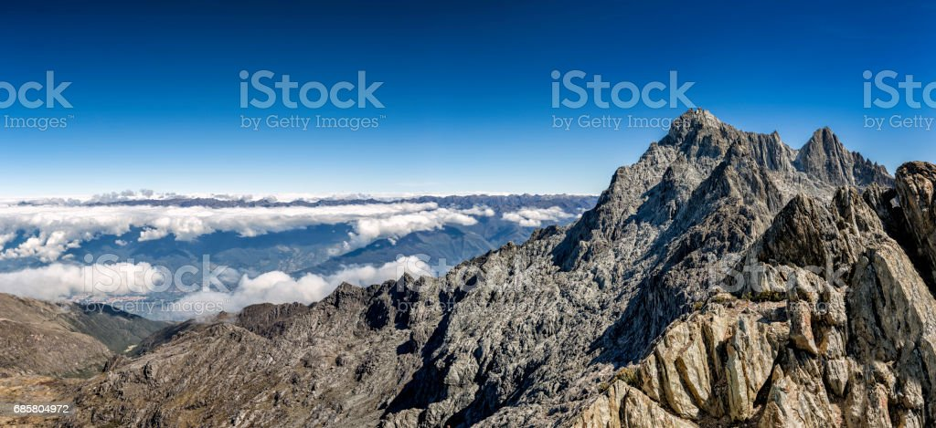 Pico Bolivar or Bolivar pic of 4978 mts and Sierra de La Culata at the background stock photo
