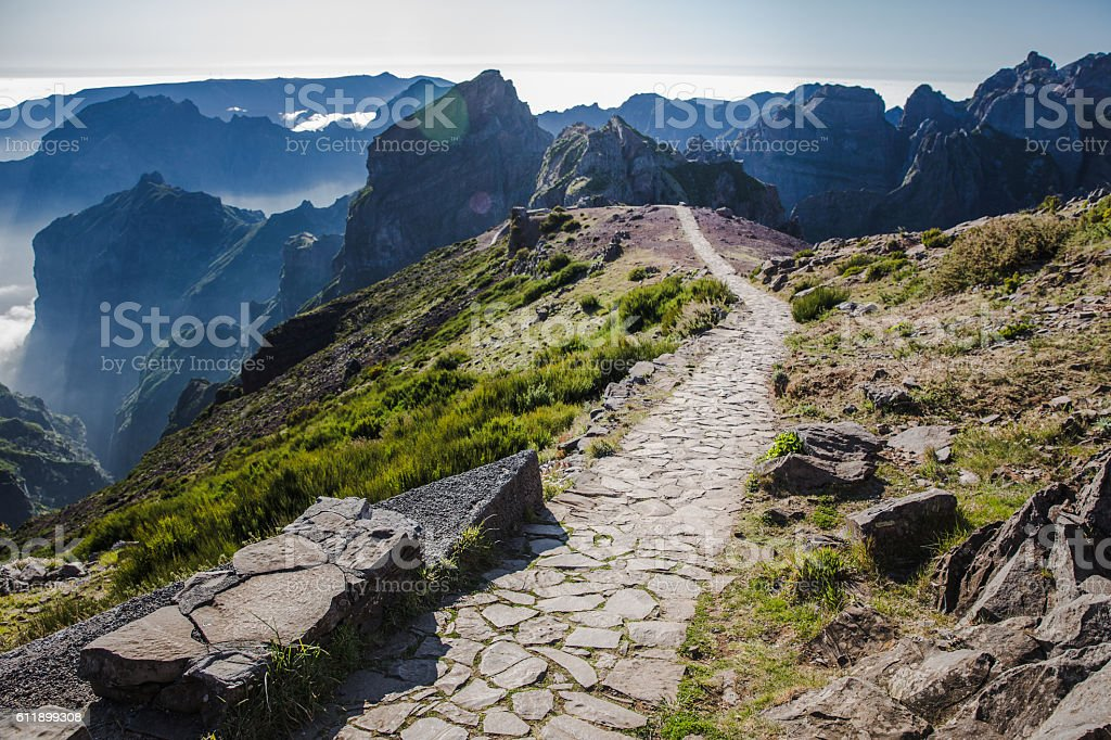 Pico de Arieiro, hiking trail stock photo