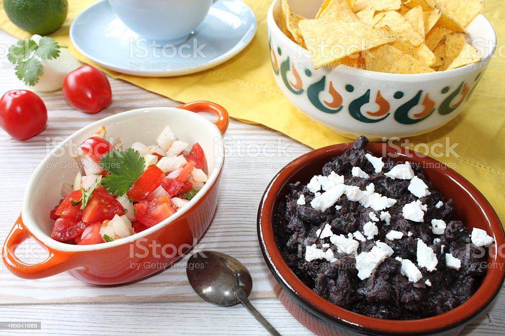 pico de gallo and black bean salsa stock photo