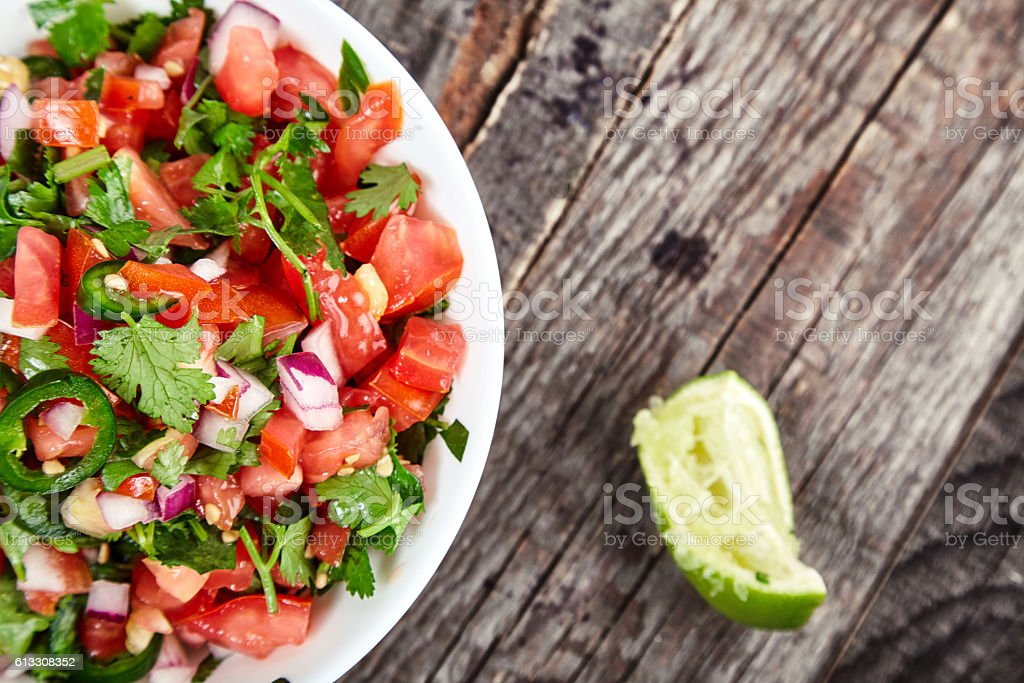 Pico de Gallo sauce, salsa fresca stock photo