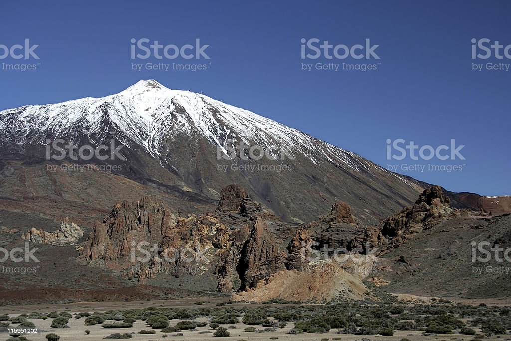 Pico De Teide With Snow Cap stock photo