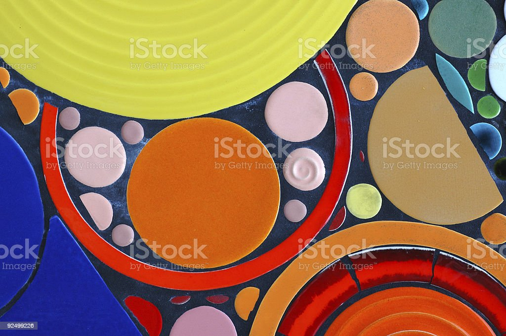 Pics of multicolored tile circles in many sizes. royalty-free stock photo