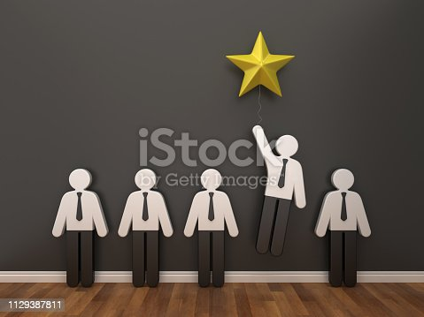 471353682 istock photo Pictogram Business People with Star in Room - 3D Rendering 1129387811