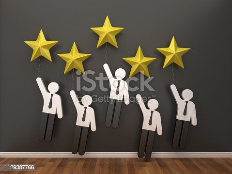 471353682 istock photo Pictogram Business People with Stars in Room - 3D Rendering 1129387766