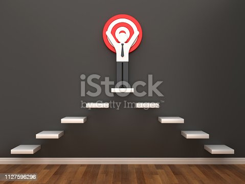 1014851458 istock photo Pictogram Business Person on Target in Room - 3D Rendering 1127596296