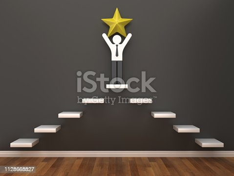 istock Pictogram Business Person with Star in Room - 3D Rendering 1128668827