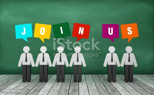 Pictogram People with JOIN US Bubble Speech on Chalkboard - 3D Rendering