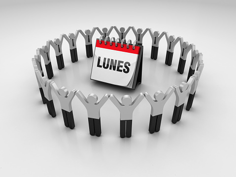 Pictogram People with LUNES Calendar - Spanish Word - 3D Rendering