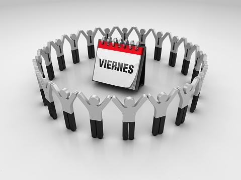 Pictogram People with VIERNES Calendar - Spanish Word - 3D Rendering