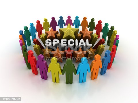 862670984 istock photo Pictogram Teamwork and Colorful Stars with SPECIAL Word - 3D Rendering 1205978725