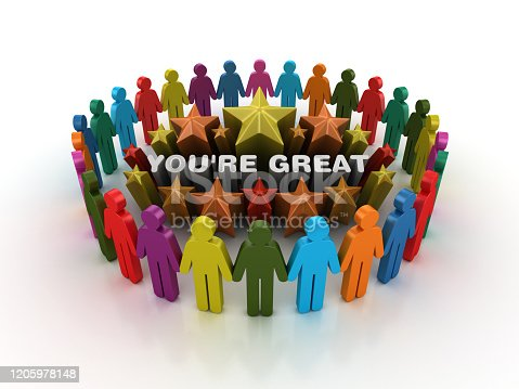 Pictogram Teamwork and Colorful Stars with YOU'RE GREAT Phrase - 3D Rendering