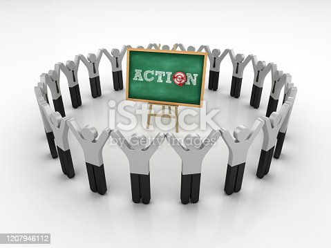 Pictogram Teamwork and Easel with ACTION Word and Target on Chalkboard Frame - 3D Rendering