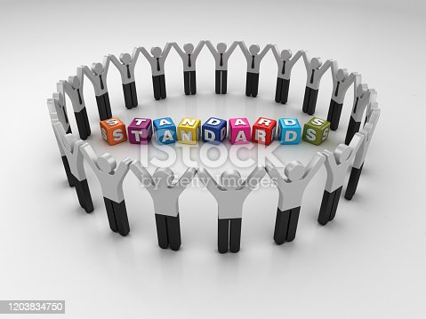 Pictogram Teamwork People with STANDARDS Buzzword Cubes - 3D Rendering
