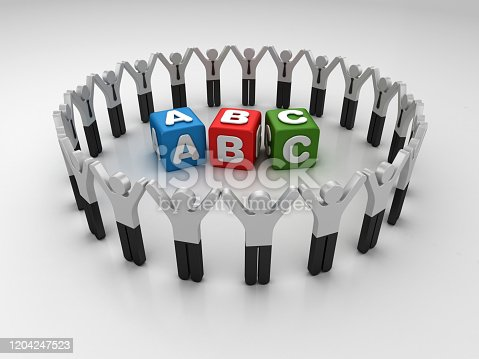 Pictogram Teamwork with ABC Cubes - 3D Rendering
