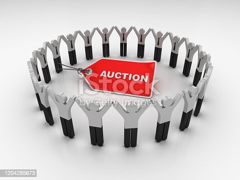 1050485096 istock photo Pictogram Teamwork with AUCTION Price Tag - 3D Rendering 1204285673