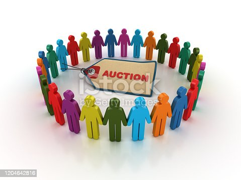 1050485096 istock photo Pictogram Teamwork with AUCTION Price Tag - 3D Rendering 1204642816