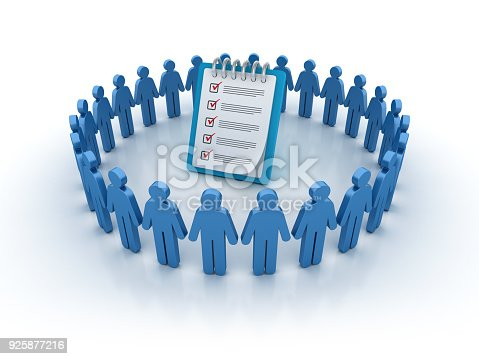 537516368 istock photo Pictogram Teamwork with Check List Clipboard - 3D Rendering 925877216