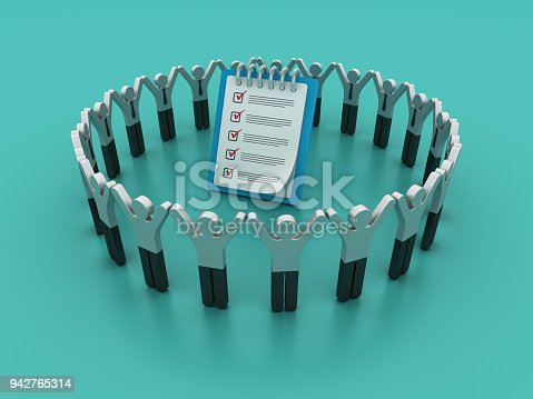 537516368 istock photo Pictogram Teamwork with Check List Clipboard - 3D Rendering 942765314