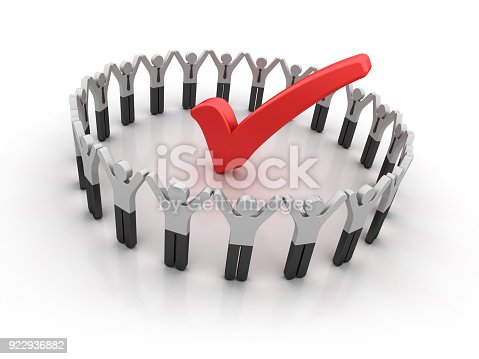 istock Pictogram Teamwork with Check Mark - 3D Rendering 922936882