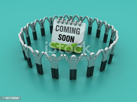 Pictogram Teamwork with COMMING SOON Calendar - Colored Background - 3D Rendering