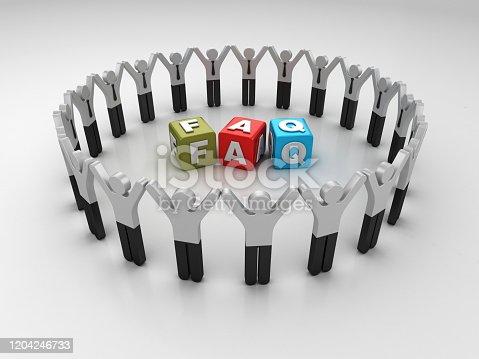 Pictogram Teamwork with FAQ Buzzword Cubes - 3D Rendering