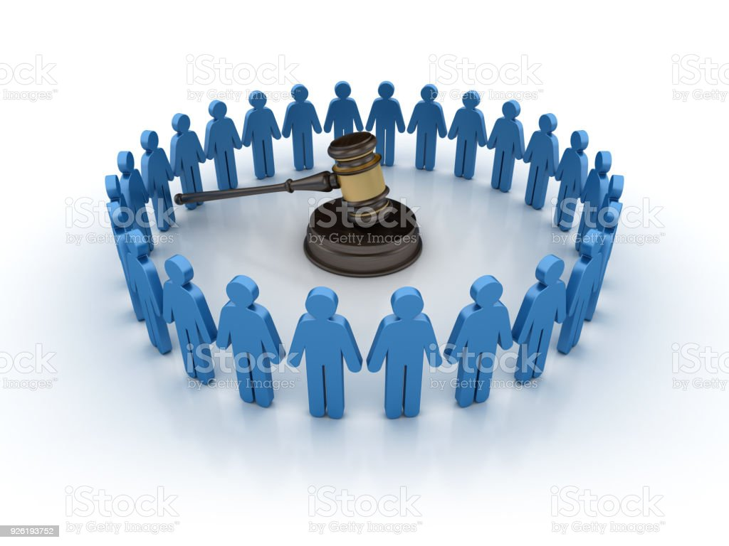 Pictogram Teamwork with Gavel - 3D Rendering stock photo