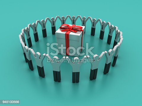 istock Pictogram Teamwork with Gift Box - 3D Rendering 945100556
