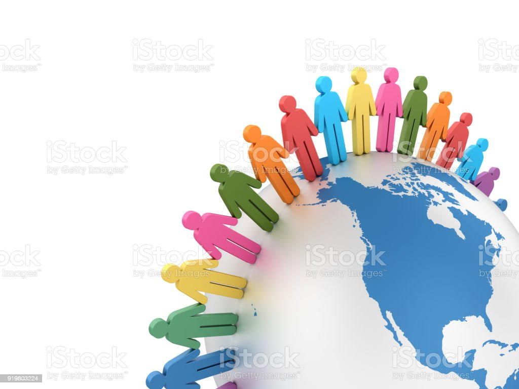 Pictogram Teamwork with Globe World - 3D Rendering stock photo