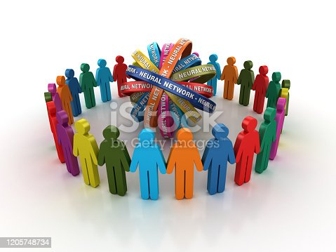 872670454 istock photo Pictogram Teamwork with NEURAL NETWORK Ribbons- 3D Rendering 1205748734
