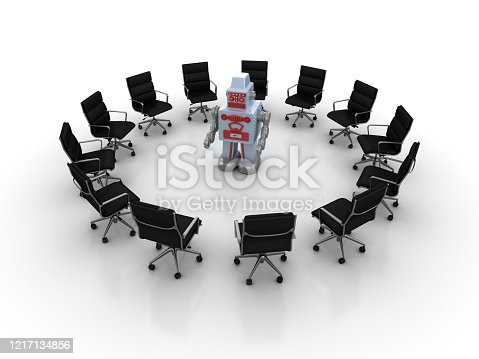 Pictogram Teamwork with Retro Robot - White Background - 3D Rendering