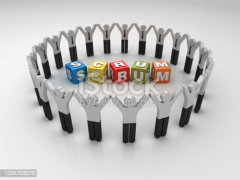 1144568268 istock photo Pictogram Teamwork with SCRUM Buzzword Cubes - 3D Rendering 1204703270