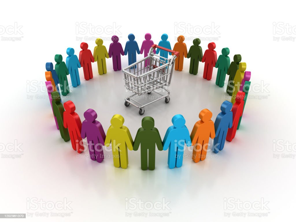 Pictogram Teamwork With Shopping Cart 3d Rendering Stock Photo Download Image Now Istock