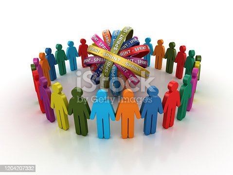 1144568268 istock photo Pictogram Teamwork with SPRINT Ribbons- 3D Rendering 1204207332