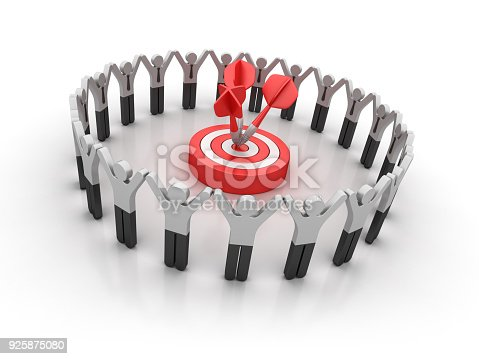 istock Pictogram Teamwork with Target and Darts - 3D Rendering 925875080