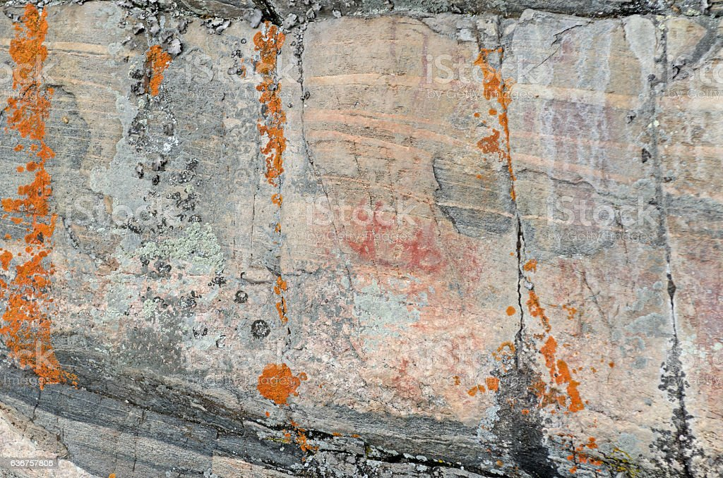 Pictograph on a Wilderness Rock Face stock photo