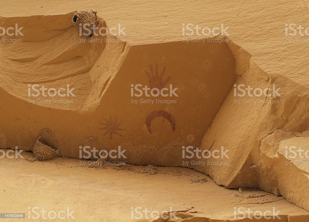 Pictographs of Chaco Canyon stock photo