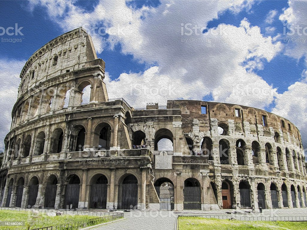 pictorial of Colosseum stock photo
