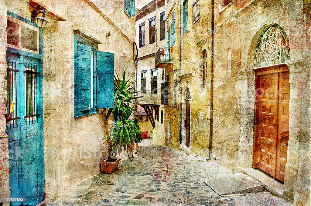 Pictorial Old Streets Of Greece stock photo