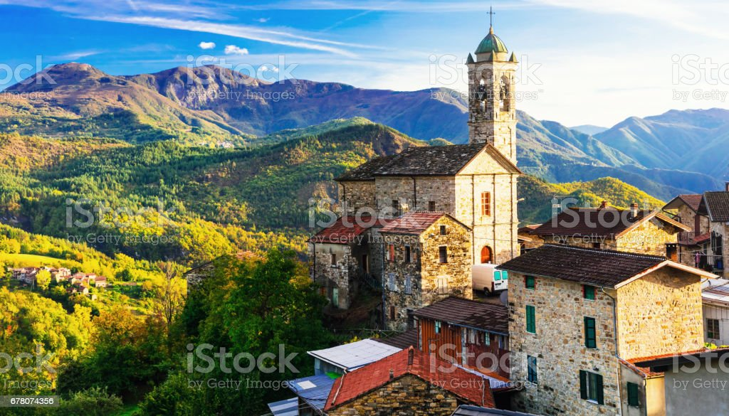 Pictorial small village in mountains - Castelcanafurone, Emilia-Romagna, Italy stock photo