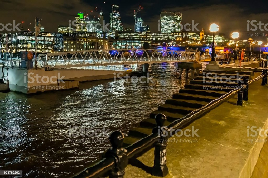 Pictorial view with London skyscrapers in the night stock photo