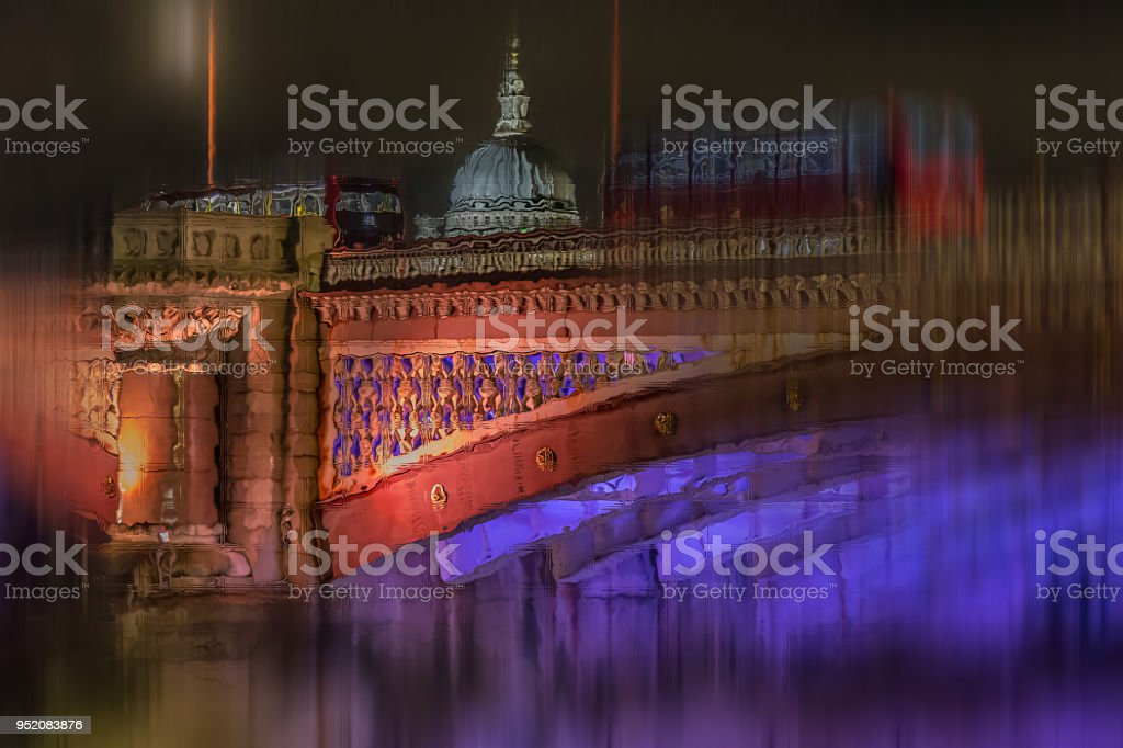 Pictorial view with red double decker buses on the bridge in London stock photo