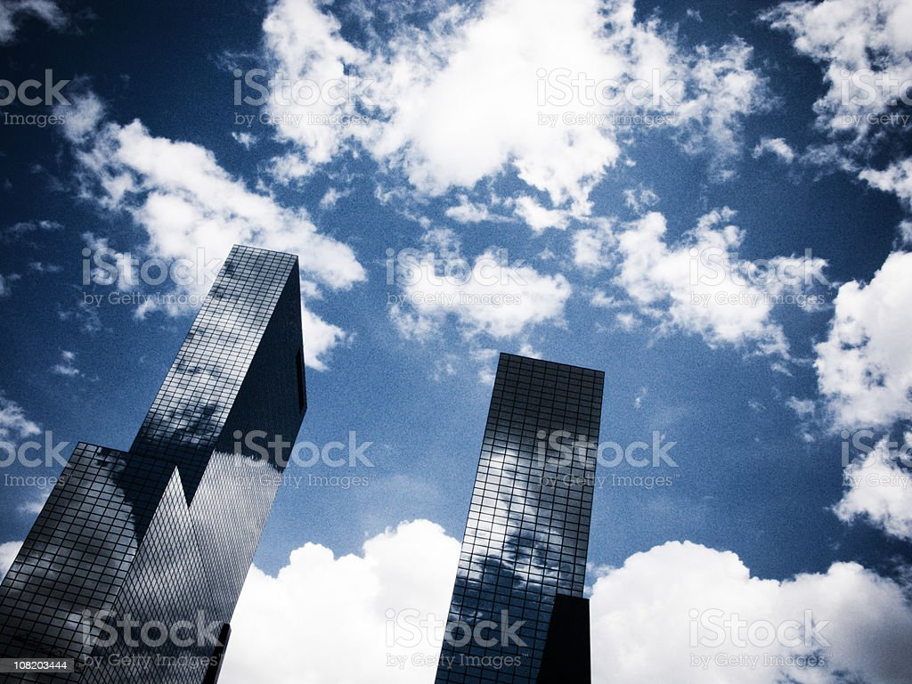 Picture angled upwards of skyscrapers and the sky. royalty-free stock photo