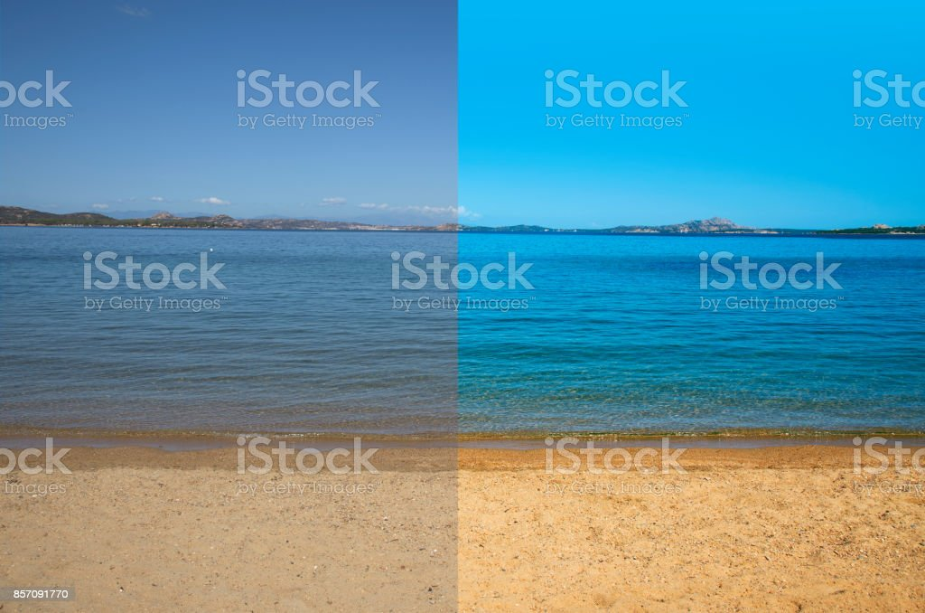 picture before and after the image editing process stock photo