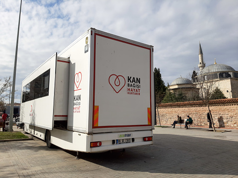 istock A picture blood donation bus of ''Kan Bagisi Hayat Kurtarir'', Kizilay bus 1203976438